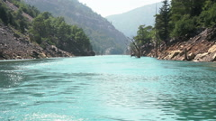 Float On The River In Canyon. Forest, Mountains, Rocks, Fishing, Nature Stock Footage