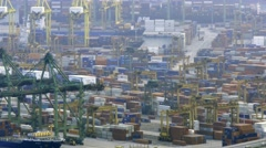 Container port of singapore commercial shipping Stock Footage
