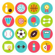 Flat Sport Recreation and Fitness Circle Icons Set - stock illustration