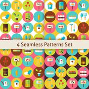 Stock Illustration of Four Vector Flat Nature Garden Flowers Seamless Patterns Set with Circles