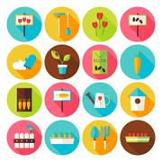 Flat Nature Garden Circle Icons Set with long Shadow - stock illustration