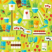 Flat Design Nature Gardening and Environment Green Seamless Pattern - stock illustration