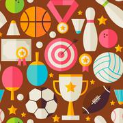 Sport Recreation Competition Vector Flat Design Brown Seamless Pattern - stock illustration