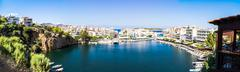 Panorama of Agios Nikolaos Lake Voulismeni - stock photo