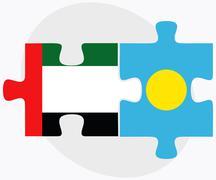 United Arab Emirates and Palau Flags Stock Illustration