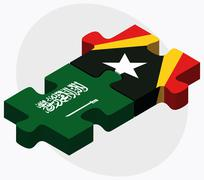 Stock Illustration of Saudi Arabia and East Timor Flags