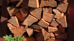 Dry chopped firewood logs ready for winter - stock footage