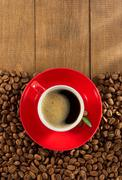 cup of  coffee on wood - stock photo
