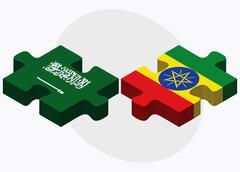 Saudi Arabia and Ethiopia Flags Stock Illustration