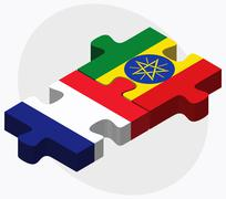 France and Ethiopia Flags in puzzle - stock illustration