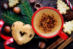 Good morning or Have a nice day Merry Christmas message concept - Cup of coff - stock photo