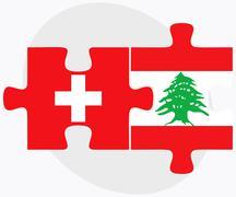 Switzerland and Lebanon Flags - stock illustration