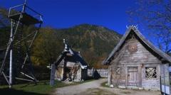 Flake Viking village, lake Walchensee, Bavaria, Germany Stock Footage