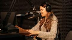 Radio DJ in studio Stock Footage