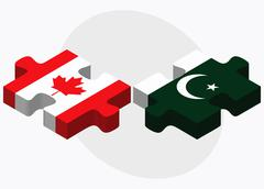 Canada and Pakistan Flags Stock Illustration