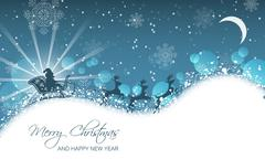 Christmas landscape, santa on sleigh with reindeer on hill. Stock Illustration