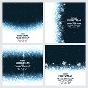 Set of abstract vector Christmas background with ornate headline and snowflake Stock Illustration