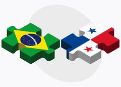 Brazil and Panama Flags - stock illustration