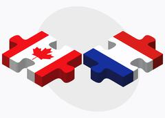 Canada and Paraguay Flags Stock Illustration