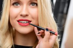 Professional cosmetics are being applied - stock photo