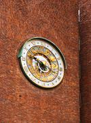 Astronomical clock on wall City Hall - Oslo Norway - stock photo
