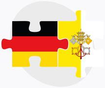 Germany and Holy See - Vatican City State Flags - stock illustration