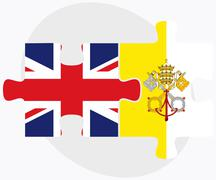 United Kingdom and Holy See - Vatican City State Flags Stock Illustration