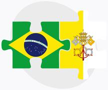 Brazil and Holy See - Vatican City State Flags Stock Illustration