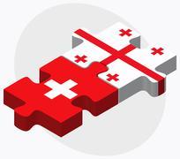 Stock Illustration of Switzerland and Georgia Flags