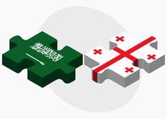 Saudi Arabia and Georgia Flags Stock Illustration