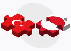 Stock Illustration of Turkey and Greenland Flags in puzzle