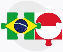Stock Illustration of Brazil and Greenland Flags