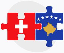 Stock Illustration of Switzerland and Kosovo Flags