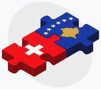 Switzerland and Kosovo Flags - stock illustration