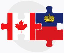Canada and Liechtenstein Flags - stock illustration