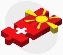 Switzerland and Macedonia Flags - stock illustration