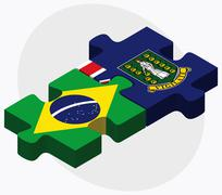 Brazil and Virgin Islands (British) Flags Stock Illustration