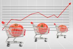 Tomato in shopping cart - stock illustration