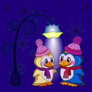 Penguins winter evening - stock illustration