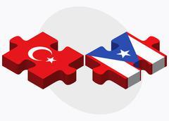 Turkey and Puerto Rico Flags - stock illustration