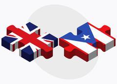 United Kingdom and Puerto Rico Flags - stock illustration