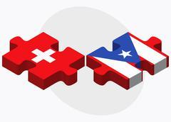 Switzerland and Puerto Rico Flags - stock illustration