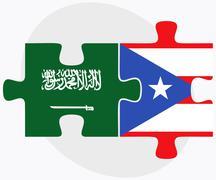 Saudi Arabia and Puerto Rico Flags - stock illustration
