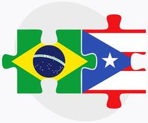 Brazil and Puerto Rico Flags - stock illustration