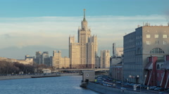 Dusk view of the Kotelnicheskaya Embankment Building day to night hyperlapse in Stock Footage