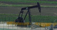 Oilpumps in Sicily, Italy Stock Footage