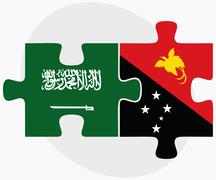 Saudi Arabia and Papua New Guinea Flags - stock illustration