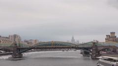 Pedestrian Bogdan Khmelnitsky Bridge timelapse hyperlapse in Moscow, Russia Stock Footage