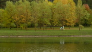 Stock Video Footage of Young mother with pram strolle walks by lake. Autumn daytime. Smooth dolly shot.