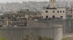 Israel - Palestine West Bank Barrier wall looking towards Bethlehem - stock footage